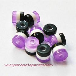 Perle cylindrique 6mm mauve blanc noir