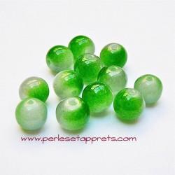 Perle ronde en verre vert blanc 6mm pour bijoux, perles et apprêts