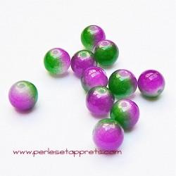 Perle ronde en verre vert rose fuchsia 6mm pour bijoux, perles et apprêts