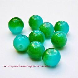 Perle ronde en verre bleu vert 6mm