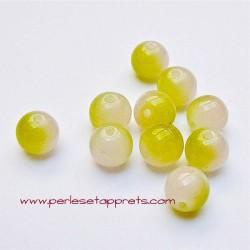 Perle ronde en verre blanc jaune 6mm pour bijoux, perles et apprêts