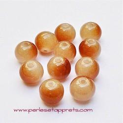 Perle ronde en verre marron 8mm pour bijoux, perles et apprêts