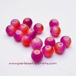 Perle ronde en verre orange rose fuchsia 6mm pour bijoux, perles et apprêts