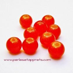 Perle ronde en verre orange 6mm