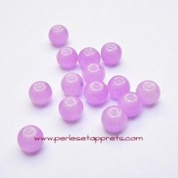 Perle ronde en verre mauve clair 6mm pour bijoux, perles et apprêts