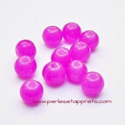 Perle ronde en verre rose fuchsia 6mm pour bijoux, perles et apprêts