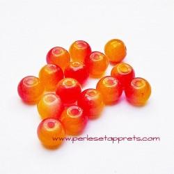 Perle ronde en verre jaune rouge 6mm pour bijoux, perles et apprêts
