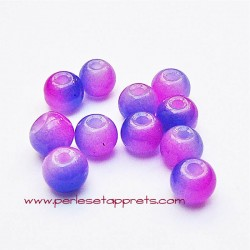 Perle ronde en verre bleu rose fuchsia 6mm pour bijoux, perles et apprêts