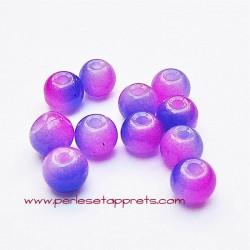 Perle ronde en verre violet fuchsia 4mm