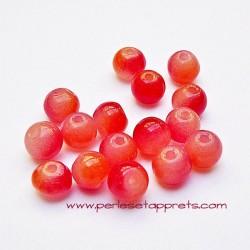 Perle ronde en verre orange rouge 6mm pour bijoux, perles et apprêts