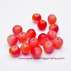 Perle ronde en verre orange rouge 6mm