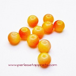 Perle ronde en verre orange jaune 4mm