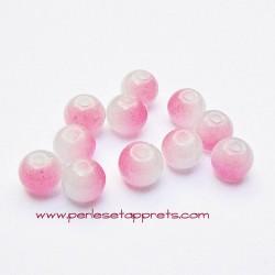 Perle ronde en verre blanc rose 6mm pour bijoux, perles et apprêts