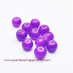 Perle ronde en verre violet 4mm