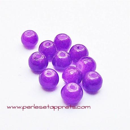 Perle ronde en verre violet 4mm pour bijoux, perles et apprêts