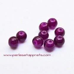 Perle ronde verre 4mm violet aubergine