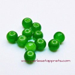 Perle ronde en verre vert 4mm