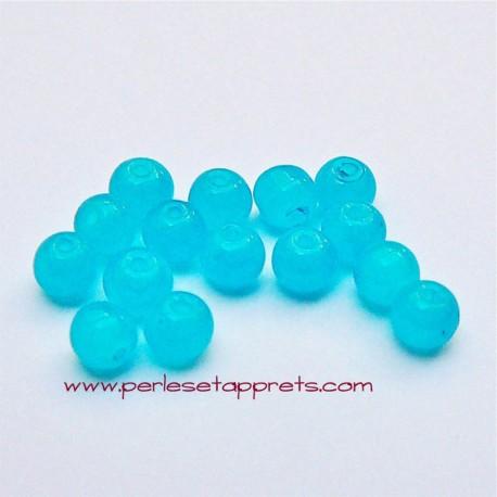 Perle ronde en verre turquoise 4mm