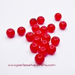 Perle ronde en verre rouge 4mm