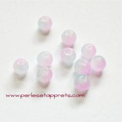 Perle ronde en verre rose mauve 4mm pour bijoux, perles et apprêts