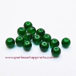Perle ronde en verre vert foncé 4mm