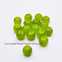 Perle ronde en verre vert clair 4mm