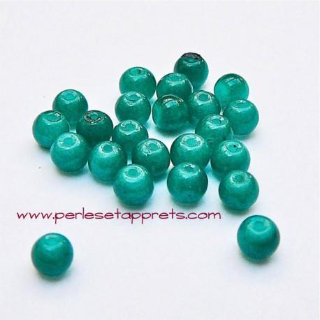 Perle ronde en verre vert canard 4mm