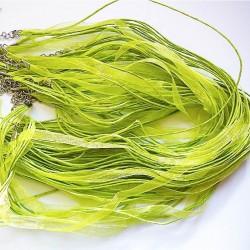 Tour de cou organza vert 3 cordons 45cm