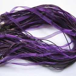 Tour de cou organza violet 4 cordons 45cm