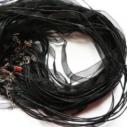 Tour de cou organza noir 3 cordons 56cm