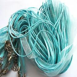 Tour de cou organza bleu clair 4 cordons 45cm