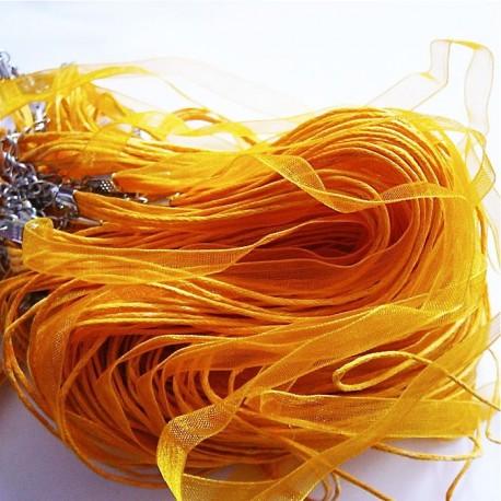 Tour de cou organza jaune 4 cordons 45cm