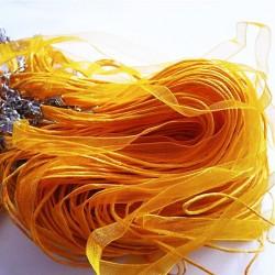 Tour de cou organza jaune 3 cordons 45cm