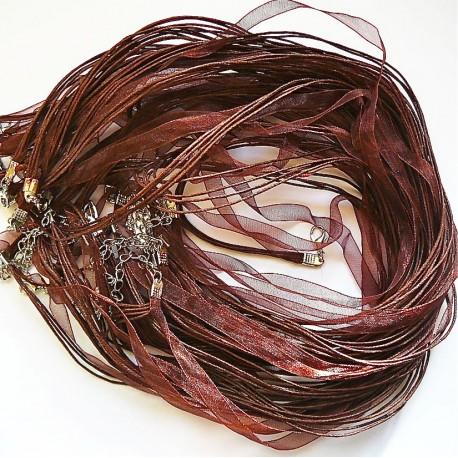 Tour de cou organza marron 3 cordons 47cm