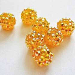 Perle shamballa ronde jaune strass 10mm