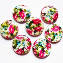 Perle de nacre rose vert 20mm