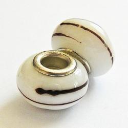 Perle en verre gros trou blanc rayé 14mm