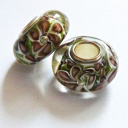 Perle en verre gros trou fleur marron 14mm