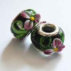 Perle en verre gros trou noir fleur 14mm