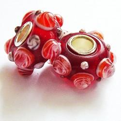 Perle en verre gros trou picot rouge 14mm