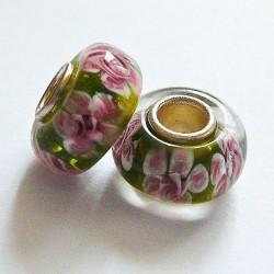 Perle en verre gros trou vert rose 14mm