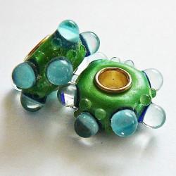 Perle en verre gros trou picot vert 14mm