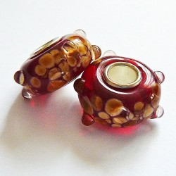 Perle en verre gros trou rouge marron 14mm