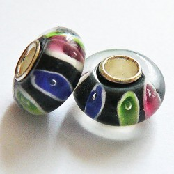 Perle en verre gros trou tricolore 14mm