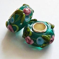 Perle en verre gros trou vert fleur 14mm