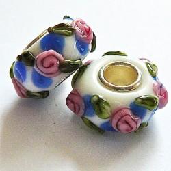 Perle en verre gros trou blanc fleur 14mm