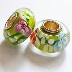 Perle en verre gros trou vert fleurs 14mm
