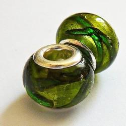 Perle en verre gros trou vert rayé 14mm