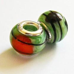Perle en verre gros trou vert clair rayé 14mm