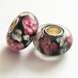Perle en verre gros trou fleurs gris rose 14mm